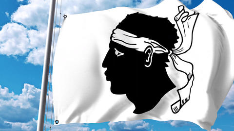 Waving flag of Corsica, a region of France Filmmaterial