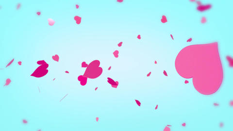 Heart background spinning hearts particles pink red light blue 2 Animation