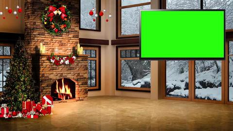 Christmas-02 Broadcast TV Studio Green Screen Background Loopable ライブ動画