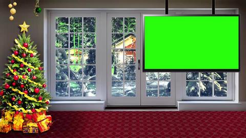 Christmas-10 Broadcast TV Studio Green Screen Background Loopable ライブ動画