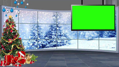 Christmas-07 Broadcast TV Studio Green Screen Background Loopable Live Action