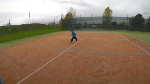 Little boy playing tennis Footage