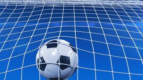 Beautiful Soccer Ball flies into Goal Net in Slow Motion under Blue Evening Sky Animation