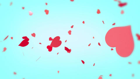 Heart background spinning hearts particles pink red orange Animation