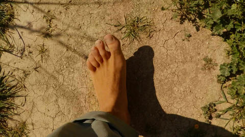 bare feet step on dry soil and rare plants and flowers super close-up, top view, Live Action