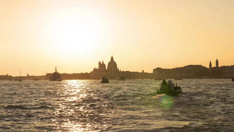 Evening in Venice. Majestic grand canal in Venice, and water traffic,Venice Footage