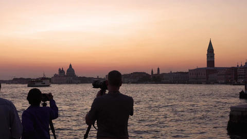 Evening in Venice. Majestic grand canal in Venice, and water traffic,Venice Live Action