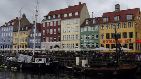 Nyhavn Waterfront Canal Entertainment District With Boats In Copenhagen Denmark Footage