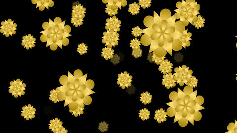 Golden flower video background with static shape and same flying particle CG動画素材