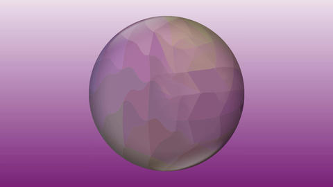 Purple glass ball with liquid crystal filling on purple gradient background. Animation