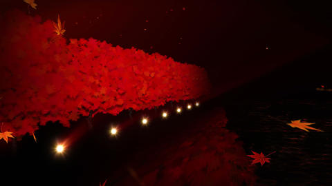 Autumn Beautiful Landscape, Autumn Forest Near The Lake, Red Leaves Animation