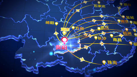 Guiyang to the national air route map CG動画素材