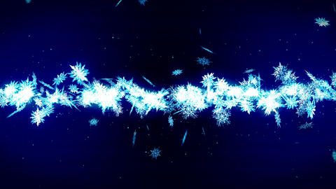 Snowflakes Falling on Blue Background, Loop Glitter Animation Animation