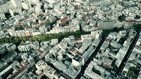Aerial view of typical Paris cityscape, France Footage