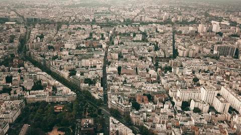 High altitude aerial panoramic shot of Paris cityscape, France Footage