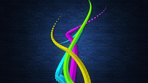 3D Colorful Abstract Wavy Streaks Stripes VJ Loop Background 画像