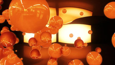 3D Orange Glossy Spheres Intro Logo Animation Background Backdrop CG動画素材