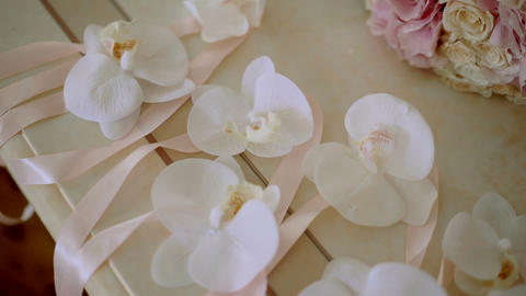 wedding accessory bracelet orchids Footage