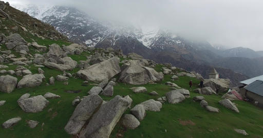 Foggy Green Mountain with Rocks Footage
