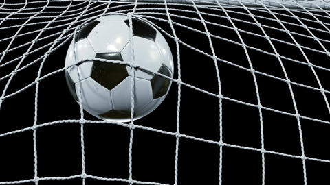 Soccer Ball flies into Goal Net in Slow Motion. Bottom View. Beautiful Football Animation