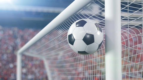 Beautiful Soccer Ball Hits the Bar and Bounces Back off in Slow Motion. Football Animation