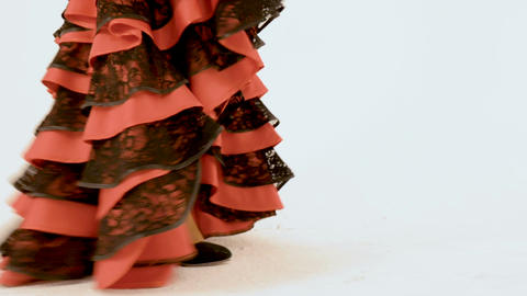 A woman in high heels in an antique dress is coming. Movement of the camera Live Action