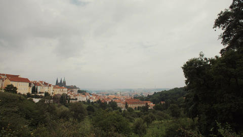Rainy day in Prague, Czech Republic with unique Gothic architecture Footage