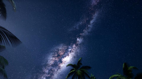4K Astro of Milky Way Galaxy over Tropical Rainforest Footage