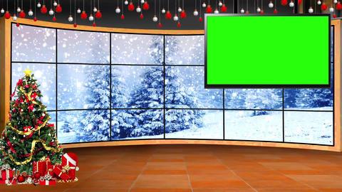 Christmas-05 Broadcast TV Studio Green Screen Background Loopable ライブ動画
