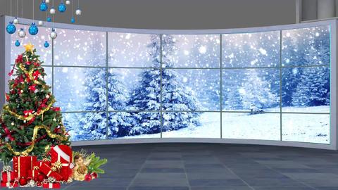 Christmas-08 Broadcast TV Studio Green Screen Background Loopable ライブ動画