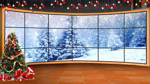 Christmas-06 Broadcast TV Studio Green Screen Background Loopable ライブ動画