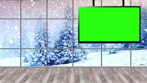 Christmas-18 Broadcast TV Studio Green Screen Background Loopable ライブ動画