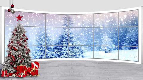 Christmas-11 Broadcast TV Studio Green Screen Background Loopable ライブ動画