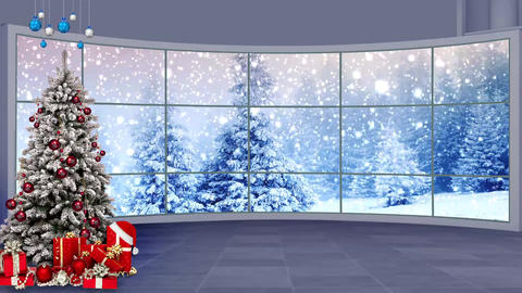 Christmas-13 Broadcast TV Studio Green Screen Background Loopable ライブ動画