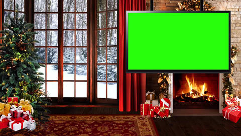 Christmas-24 Broadcast TV Studio Green Screen Background Loopable Animation