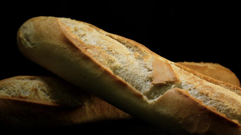 Delicious freshly baked baguettes Footage
