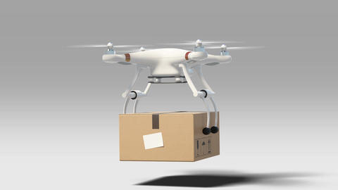 Drone Landing with a Package to the Ground and Flying Away. 3d Animation with Animation