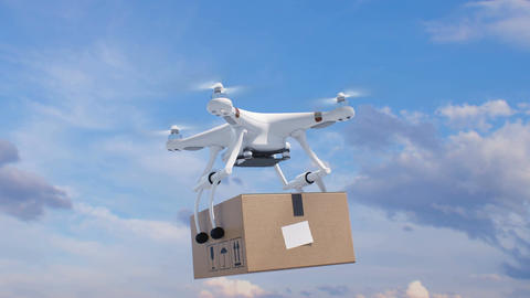Quadcopter Flying in the Blue Sky with a Package and Rising Fast Up to the Sun Animation