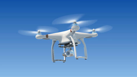 Quadcopter Hanging in the Blue Sky and Shooting Video. Seamless 3d Animation Animation