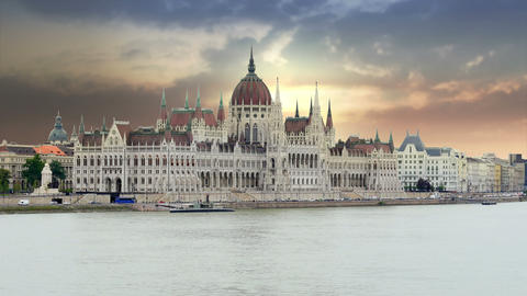 Budapest View with Parliament Building and Danube River, 4k Footage