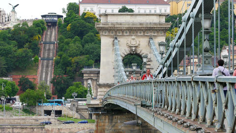 BUDAPEST - HUNGARY, AUGUST 2015: Chain Bridge view Footage