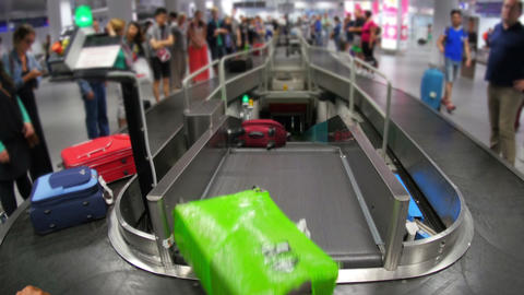 baggage claim area of terminal, inside airport Footage