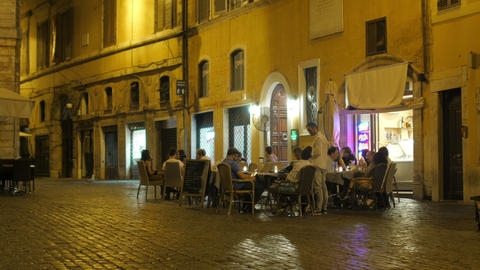 ROME - ITALY, AUGUST 2015: people drinking at outside Footage