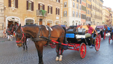 ROME - ITALY, AUGUST 2015: horse cab at spanish square Footage
