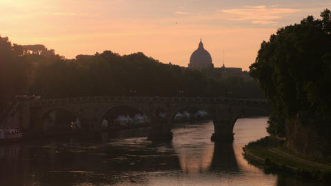 city view with stone birdge, tiber river, rome, italy, 4k Footage