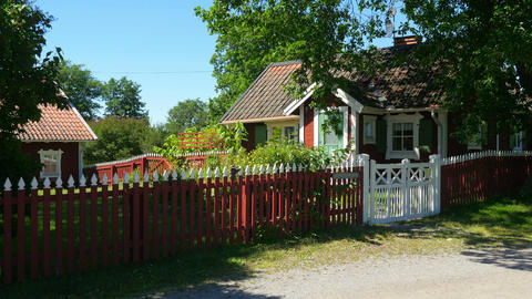 houses of scandinavian countryside village near stockholm, sweeden Footage