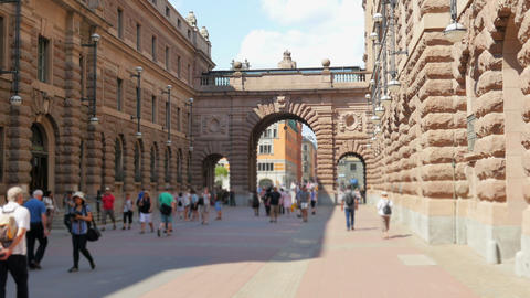 Stockholm Old City And Parliament View, Sweeden stock footage
