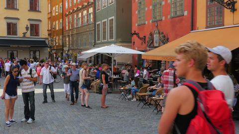 STOCKHOLM - SWEDEN, AUGUST 2015: people enjoy in old city Footage