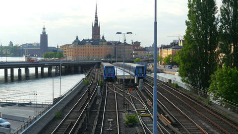 STOCKHOLM - SWEDEN, AUGUST 2015: old city view, metro passing Footage