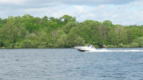 speed boat going on scandianvian waters near stockholm, sweden Footage